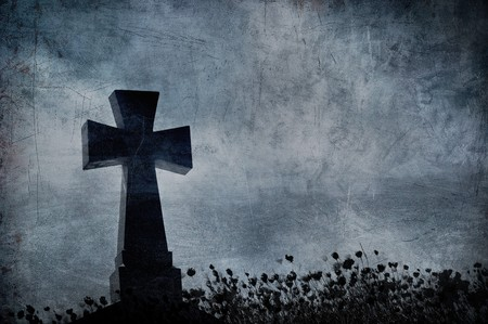 Grunge image of a cross in the cemetery, perfect halloween background Stock Photo - 8153875