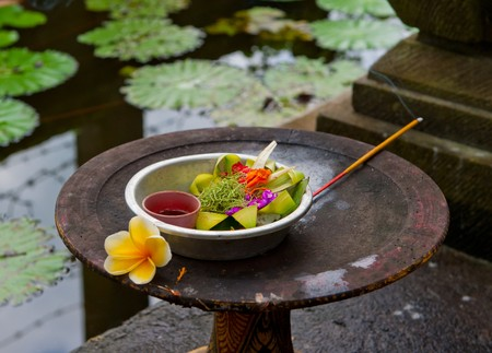 balinese: Traditional balinese offerings Stock Photo