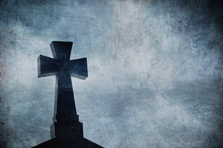Grunge image of a cross in the cemetery, perfect halloween background Stock Photo - 8662946