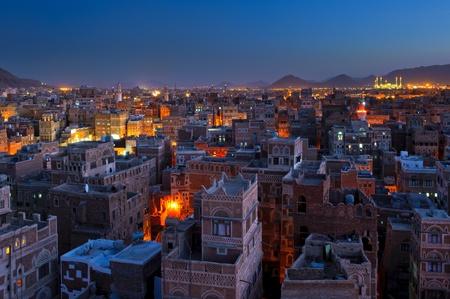yemen: Panorama of Sanaa at night, Yemen Stock Photo