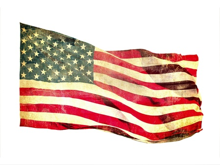 Grunge image of american flag photo