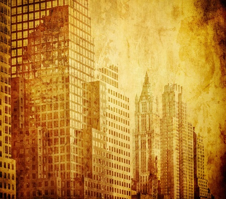 old buildings: grunge image of new york skyline
