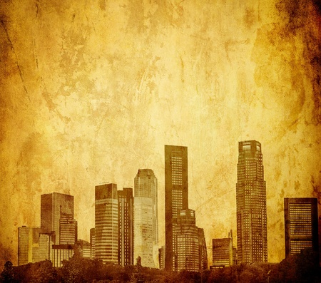grunge image of singapore skyline photo