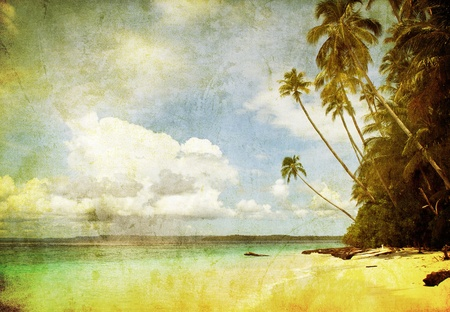 tarjeta postal: imagen de grunge de playa tropical Foto de archivo