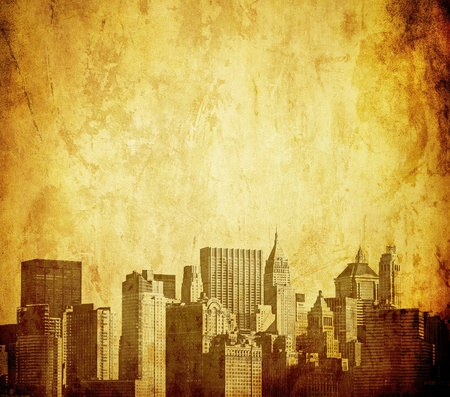 grunge image of new york skyline photo