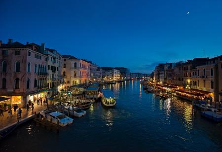 Grand Canal at night, Venice, italy photo