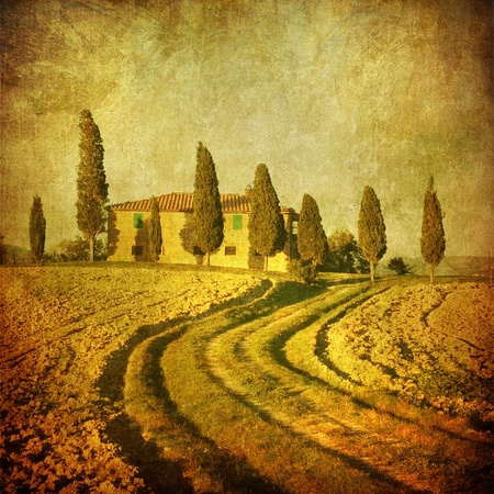 the tuscan: vintage tuscan landscape Stock Photo