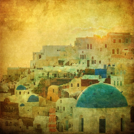 Vintage image of Oia village at Santorini island, Greece photo