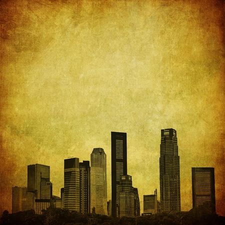 singapore cityscape: grunge image of singapore skyline