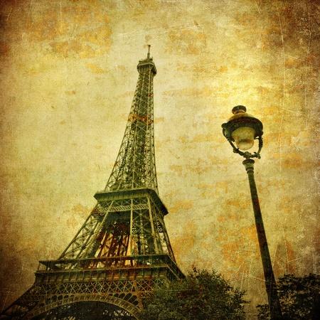paris vintage: Vintage imagen de la Torre Eiffel, París, Francia