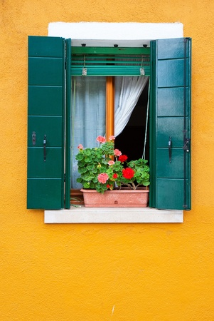 colored window: Colorful houses of Burano, Venice, Italy Stock Photo