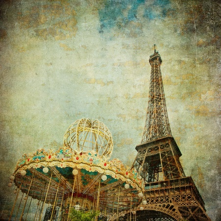 Vintage image of Eiffel tower, Paris, France photo