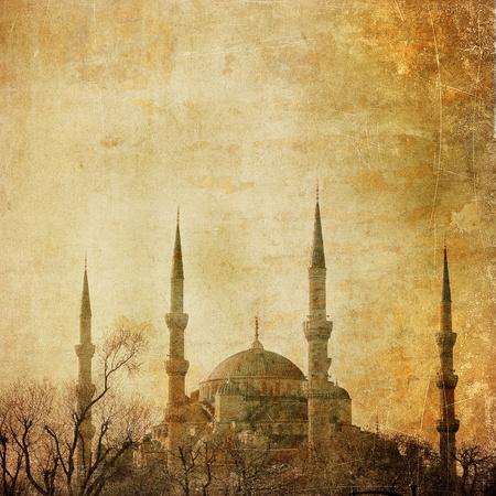 mezquita: Vintage imagen de la Mezquita azul, Estambul