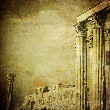 grecia antigua: Imagen vintage de columnas griegas, Acr�polis, Atenas, Grecia