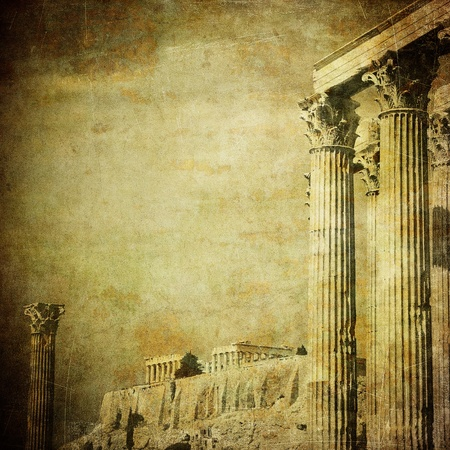 greek temple: Vintage image of greek columns, Acropolis, Athens, Greece Stock Photo