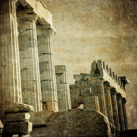 ruins is ancient: Vintage image of greek columns, Acropolis, Athens, Greece Stock Photo