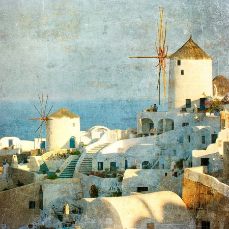 Vintage image of Oia village at Santorini island, Greece photo