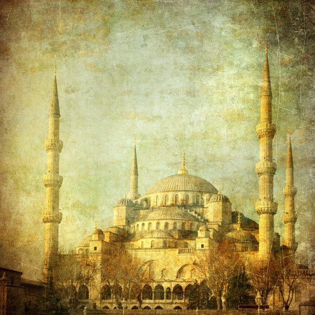 ottoman: Vintage image of Blue Mosque, Istanbul Stock Photo