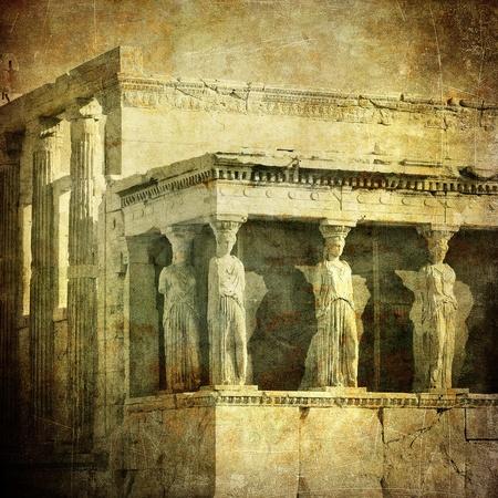 greek temple: Vintage image of Caryatids, Acropolis, Athens, Greece Stock Photo