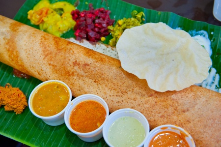 Dosa, crispy savory pancake from South India Stock Photo - 10369975