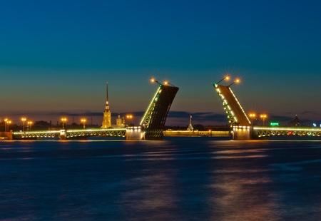 Night view of Palace Bridge, Saint Petersburg, Russia photo