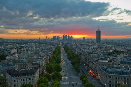 champs elysees: Panorama of Paris at sunset