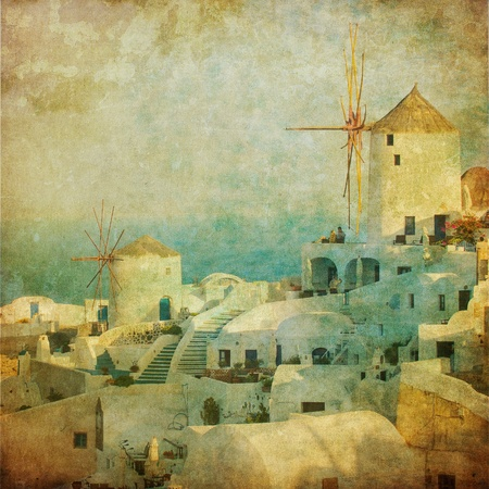 santorini greece: Vintage image of Oia village at Santorini island, Greece