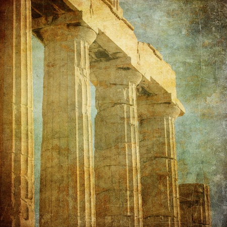 columns: Vintage image of greek columns, Acropolis, Athens, Greece Stock Photo