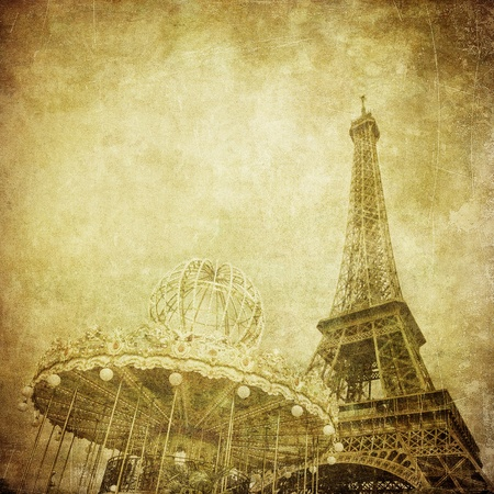 carousel: Vintage image of Eiffel tower, Paris, France Stock Photo