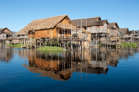 inle: Floating village at Inle Lake, Myanmar