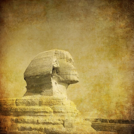 ancient egyptian culture: grunge image of sphynx and pyramid Stock Photo