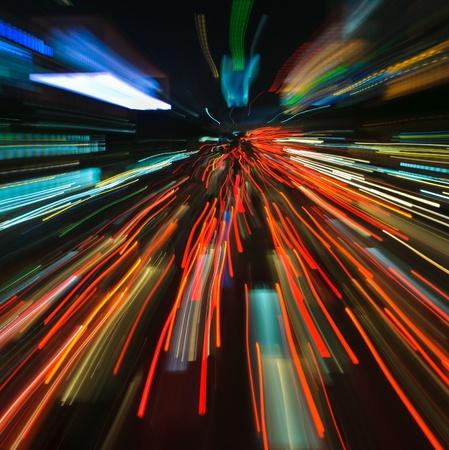 traffic lights in motion blur photo
