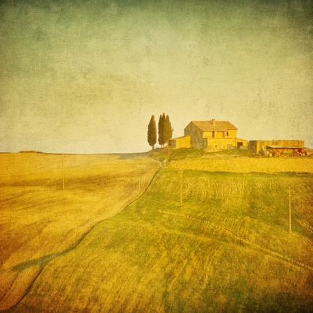 tuscan: vintage tuscan landscape Stock Photo