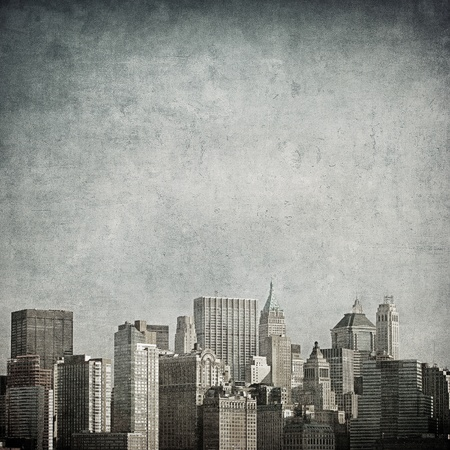manhattan skyline: grunge image of new york skyline