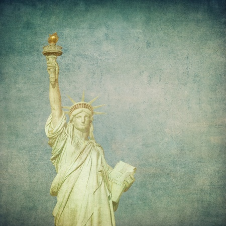 grunge image of liberty statue photo