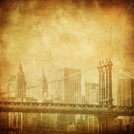 manhattan bridge: grunge image of manhattan bridge and new york skyline