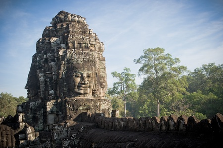 cambodia sculpture: Faces of Bayon temple, Angkor, Cambodia Stock Photo