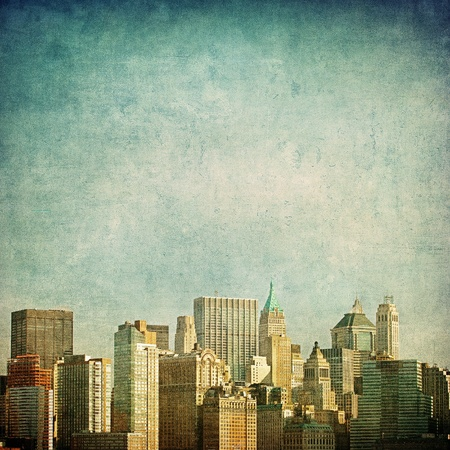 manhatten skyline: Grunge Bild der Skyline von New York Lizenzfreie Bilder
