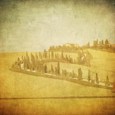 vintage tuscan landscape photo