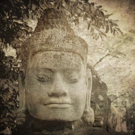 khmer: Vintage image of gate guardian, Angkor, Cambodia