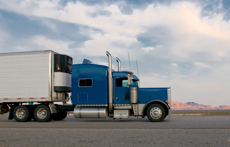 garbage truck: Blue truck moving on a highway