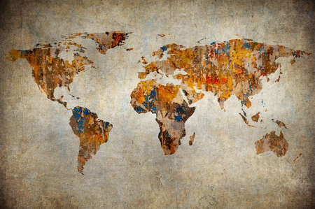 earth map: grunge map of the world  Stock Photo