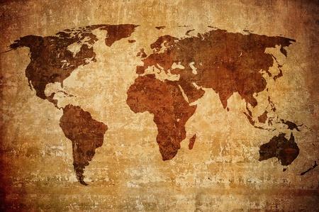 Atlas: Grunge-Karte der Welt Lizenzfreie Bilder
