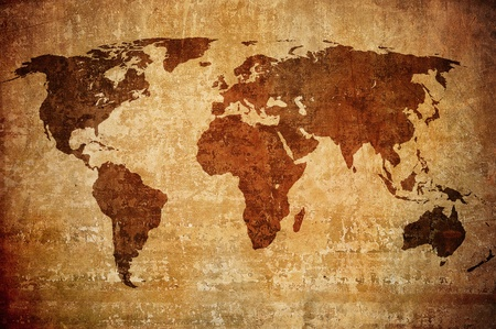 wall maps: grunge map of the world  Stock Photo