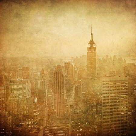 new york city panorama: grunge image of new york skyline