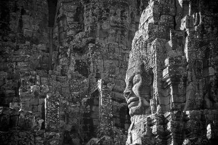 buddhist structures: Faces of Bayon temple, Angkor, Cambodia Stock Photo