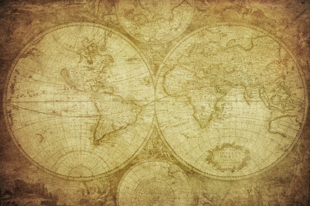 wall maps: vintage map of the world   Stock Photo