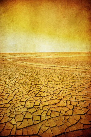 extreme heat: grunge image of desert landscape