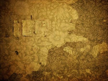 papel quemado: grunge papel tapiz con motivos florales Foto de archivo