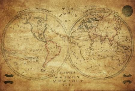 mapa de la vendimia del mundo 1833 Foto de archivo